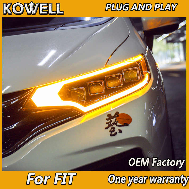 Kowell Auto Styling Voor Honda Fit Koplampen 2014-2017 Voor Fit Hoofd Lamp Led Drl Voor Bi-Xenon lens Dubbele Beam Hid Kit
