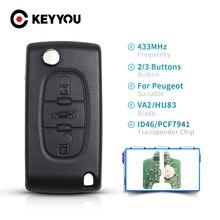 KEYYOU Remote Car Key For Peugeot 307 3008 308 408 433MHz ID46 Chip Car Flip Key VA2/HU83 Blade 433Mhz ASK 2/3BT CE0536 CE0523