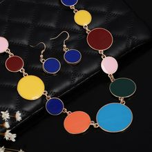 1 Set of Multicolor Circles Shaped Jewelry Sets for Women Enameled Necklace Decoration Earrings Summer Bridal Jewelry Sets(China)