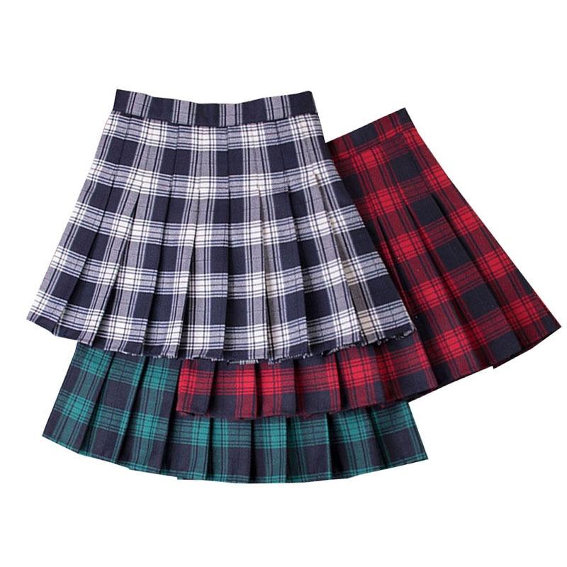 Summer Plaid Mini Skirt Vintage High Waist Women's Pleat Skirts Office Ladies Party Casual Short Pleated Skirt Sexy Mini Skirts