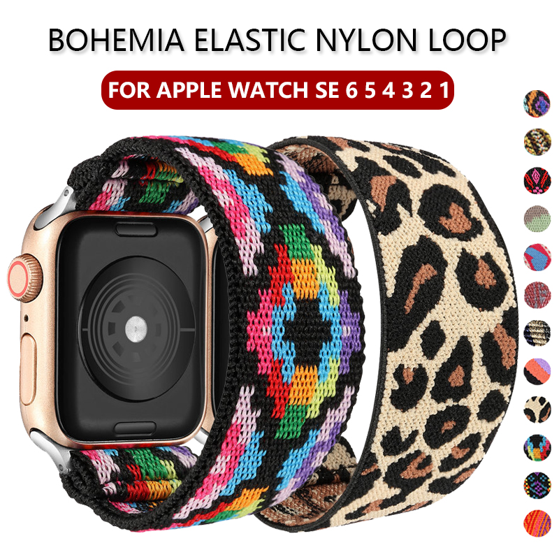 Bohemia Elastic Nylon Solo Loop Strap for Apple Watch Band 6 SE 38mm 40mm 42mm 44mm For iwatch Series 6 5 4 3 Replacement Strap