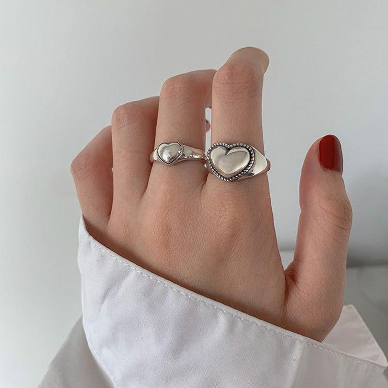 XIYANIKE 925 argent Sterling rétro amour coeur creux anneau ouvert femme INS tendance doux Sexy élégant fait à la main Hip-hop mode anneau 2