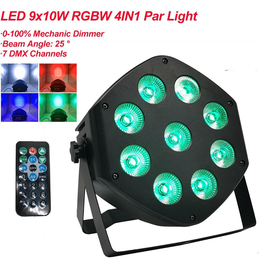 NEW LED Par 9x10W RGBW 4IN1 LED Par Can LED Par Light DMX Stage Lights Or KTV Disco Party DJ Bar Lamp DMX512 7CH Channels
