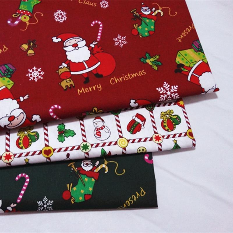 1000 cm,Christmas Santa Claus Print Decorative Fabric Pure Cotton Textile Material Clothing Dress Costumes for Children & Adult