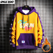 SingleRoad Mens Winter Hoodies Men 2020 Fleece Yellow Hoodie Men Sweatshirt Hip Hop Patchwork Harajuku Japanese Streetwear Women