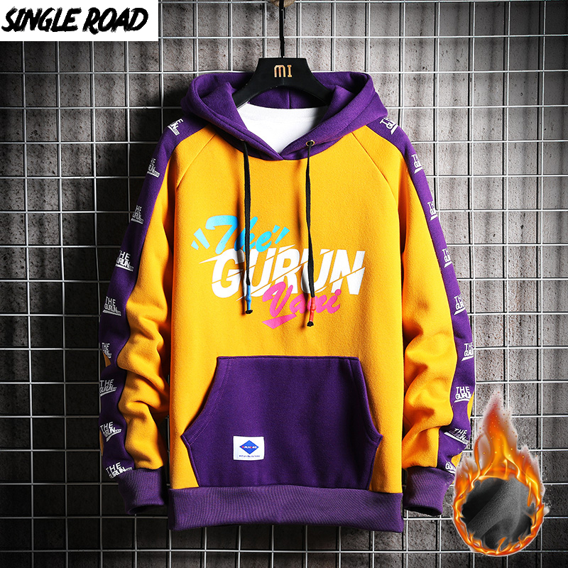SingleRoad Mens Winter Hoodies Men Fleece Yellow Hoodie Men Sweatshirt Male Hip Hop Patchwork Harajuku Japanese Streetwear Women