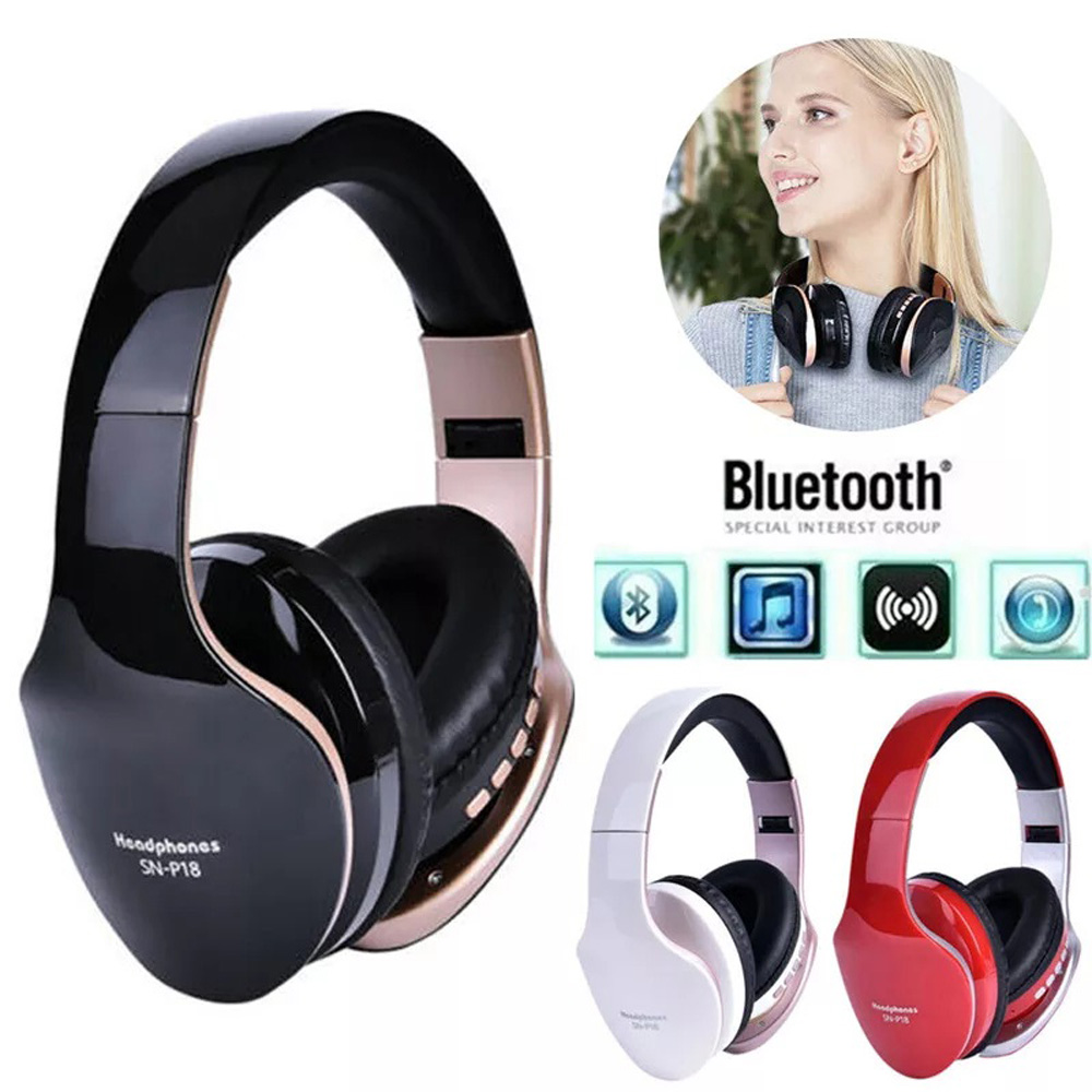 Wireless Headphones Bluetooth Headset Foldable Stereo Gaming Earphones W/ Mic Brand New And High Quality image