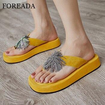 FOREADA Natural Genuine Leather Platform Flat Slides Women Shoes Flip Flop Slippers Crystal Fringe Female Sandals Yellow Black 9