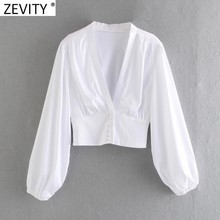 Zevity Vrouwen V-hals Zwart Wit Kleur Korte Kiel Blouse Vrouwelijke Lantaarn Mouwen Slanke Hof Shirts Chic Pearl Knoppen Tops LS9268
