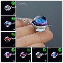 Glow In The Dark Galaxy Glass Ball Necklace Fashion Sphere Pendant Silver Plated Chain Jewelry for Women