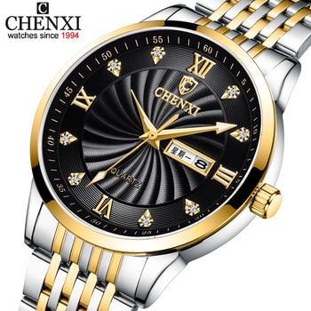 CHENXI New Couple Watches Luxury Brand Women or Men Watches Quartz Date week Clock Wristwatches Female Waterproof Montre Femme 1