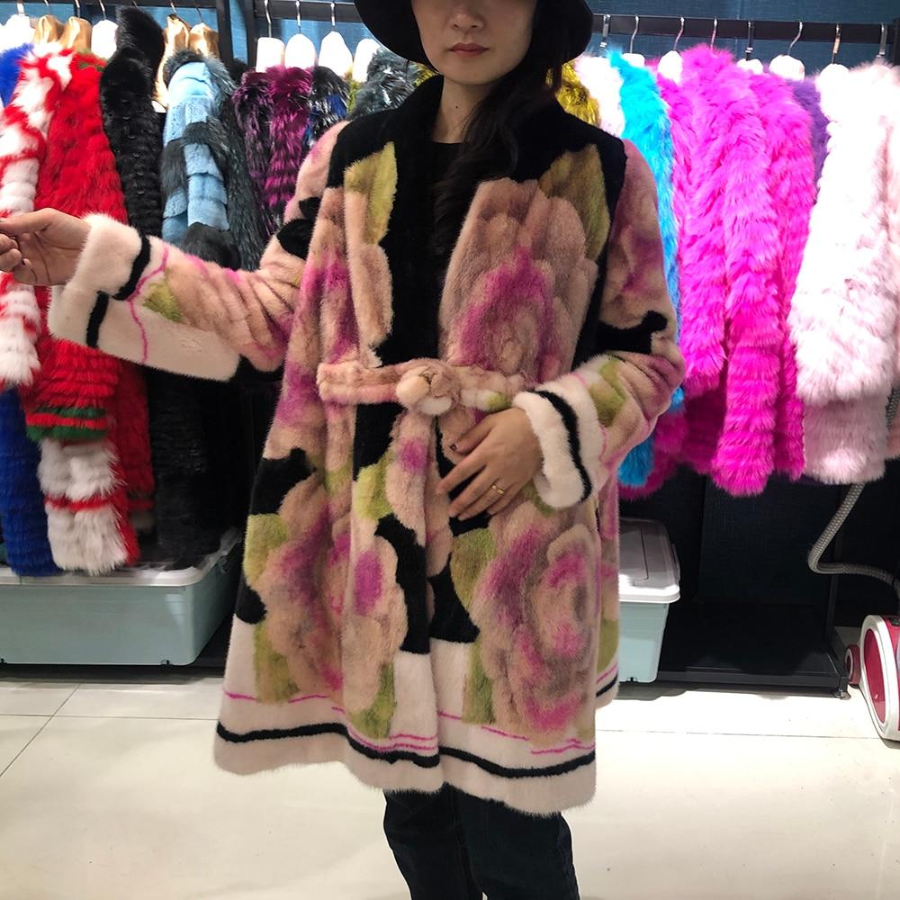 Reale del Visone cappotto di pelliccia di danimarca 2019 cappotto di inverno delle donne più il formato di lusso del fiore lungo cappotto delle donne di alta qualità delle signore giacche cappotti