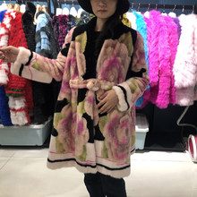 Real Mink fur coat denmark 2019 winter coat women plus size luxury flower long coat women high quality ladies jackets coats(China)