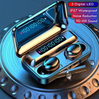 Bezprzewodowe słuchawki douszne Bluetooth 5 1 słuchawki LED etui z funkcją ładowania słuchawki bezprzewodowe radio z głębokim basem sportowe wodoodporne słuchawki W Mic tanie i dobre opinie punnkfunnk NONE Dynamiczny CN (pochodzenie) Prawdziwie bezprzewodowe 103dB Zwykłe słuchawki do telefonu komórkowego Słuchawki HiFi