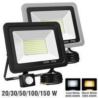 30/50/100/200W LED Flutlicht 220V PIR Motion Sensor Sicherheit Strahler Im Freien Wasserdichte Wand reflektor Beleuchtung Garten Lampe