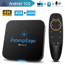 HONGTOP smart tv box android 2.4&5G wifi youtube 4k media player android 10 tv box google assistant tv box android 10 4GB 64GB