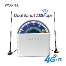 4G LTE WiFi yönlendirici 1200Mbps kablosuz CPE çift bant 2.4G & 5.8G Gigabit LAN WAN bağlantı noktası sim kart yuvası desteği harici anten