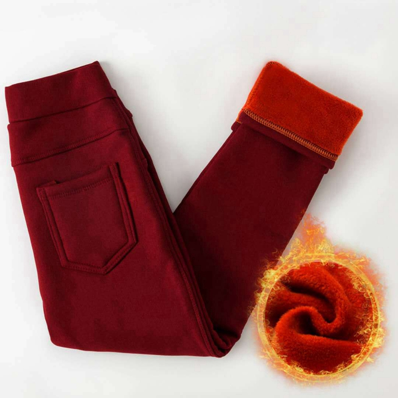 Теплые лосины для девочек утепленные пухом детские леггинсы детские брюки Тонкий подростков узкие штаны для школьников, верхняя одежда ...