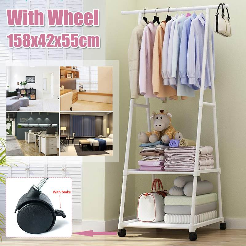 Coat Rack Floor Standing Clothes Hanging Storage Shelf Clothes Hanger Racks With Wheel Simple Style Bedroom Furniture