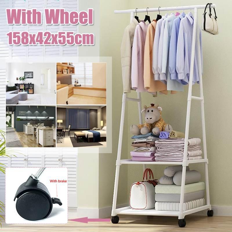 Coat Rack Floor Standing Clothes Hanging Storage Shelf Clothes Hanger Racks With Wheel Simple Style Bedroom Furniture