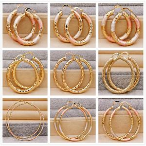 9 style New Statement Hoop Earrings for Women Gold Color round Earring with Zircon Luxury Jewelry for Wedding Anniversary Gift