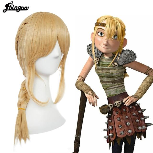Ebingoo волос Кепки + футболка с изображением героев мультфильма «Как приручить дракона 2» Астрид блондинка длинные тесьма искусственные Косплэй Для женщин парики для Хэллоуина костюм вечерние