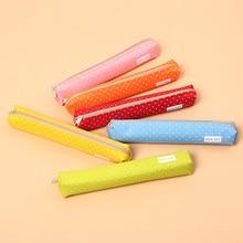 1PC Kawaii Mini Colorful Dot Pattern Students Children Canvas Pen Bag Zipper Pencil Case Candy colored long wave dot pen bag
