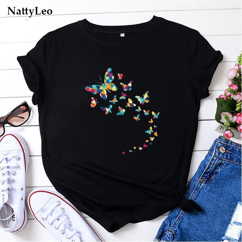 Übergroßen T Hemd Schmetterlinge Drucken T-shirt O Hals Kurzarm Graphic Tee Plus Größe 100% Baumwolle T-shirt Sommer Frauen Schwarz tops