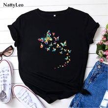 T-shirt manches courtes col rond femme, estival et surdimensionné, imprimé papillon, 100% coton