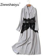 Ziwwshaoyu Black Lace Patchwork Long Trench Coat Women's Designer Autumn Winter