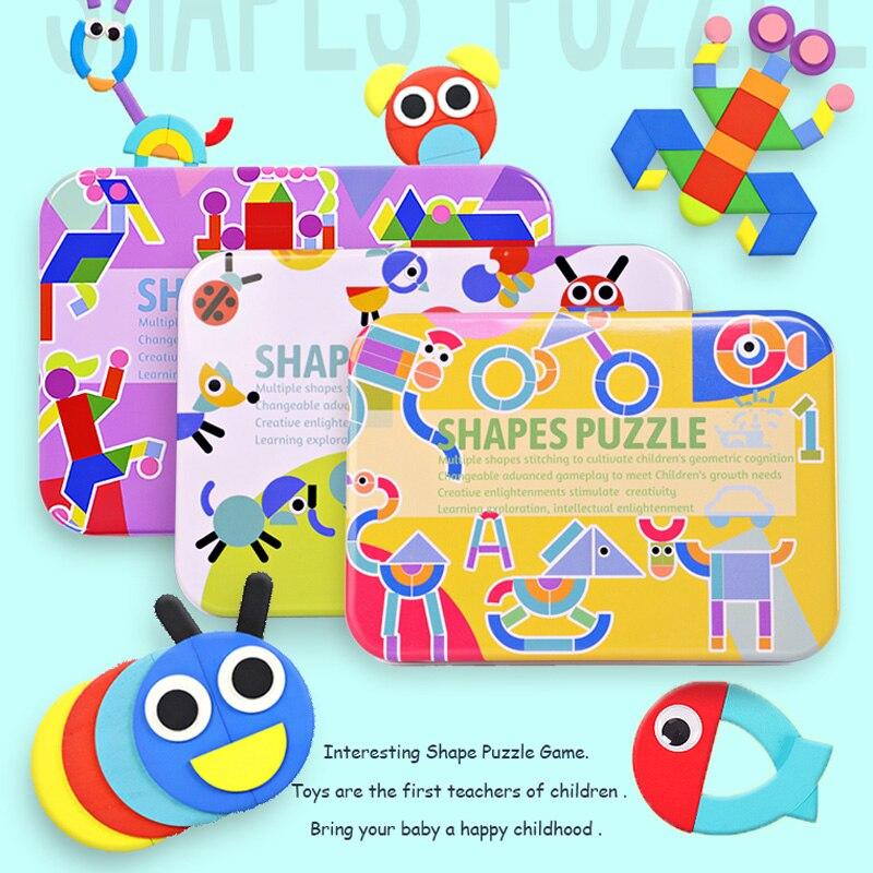 Креативный 3D пазл Монтессори, Детские деревянные игрушки, геометрическая форма, деревянный пазл с узором, развивающие игрушки для детей, по...