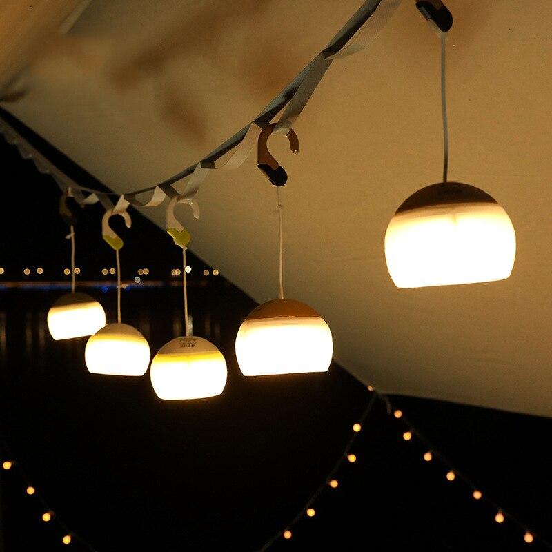 Carregamento usb lanterna de acampamento protable led multifunções luz suave três brilho gancho ao ar livre festa em casa lâmpada atmosfera
