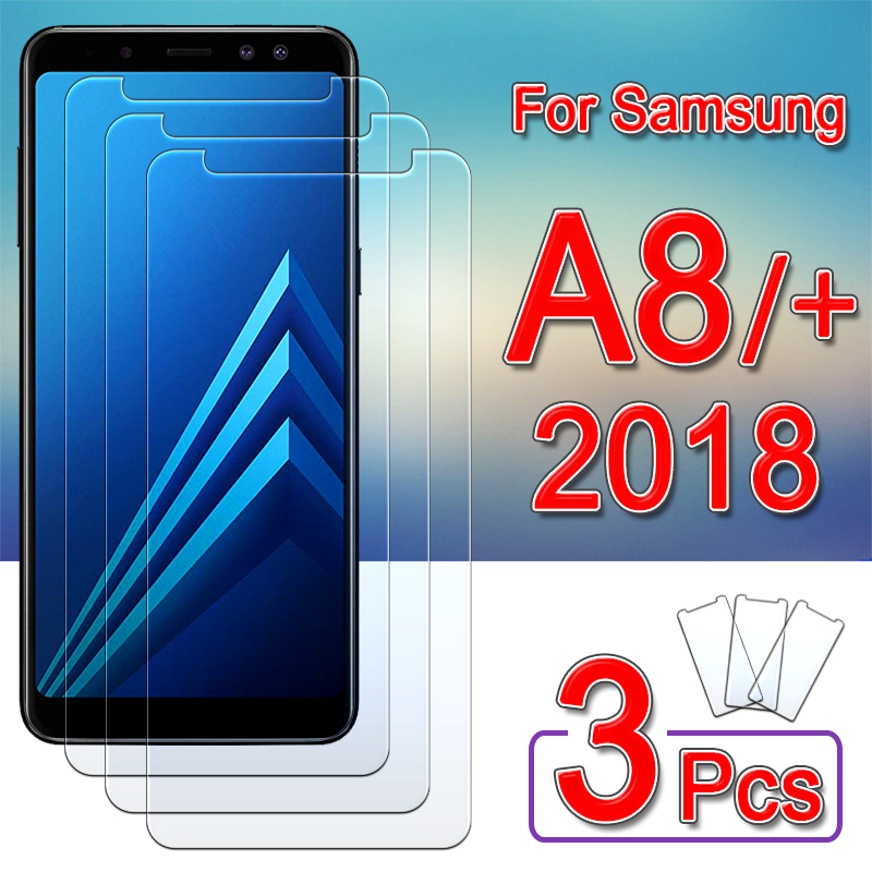 for <font><b>samsung</b></font> a8 <font><b>glass</b></font> protective on galaxy <font><b>a</b></font> <font><b>8</b></font> plus <font><b>2018</b></font> screen protector tempered glas A8plus 8a a82018 safety Armor film 1-3pcs image