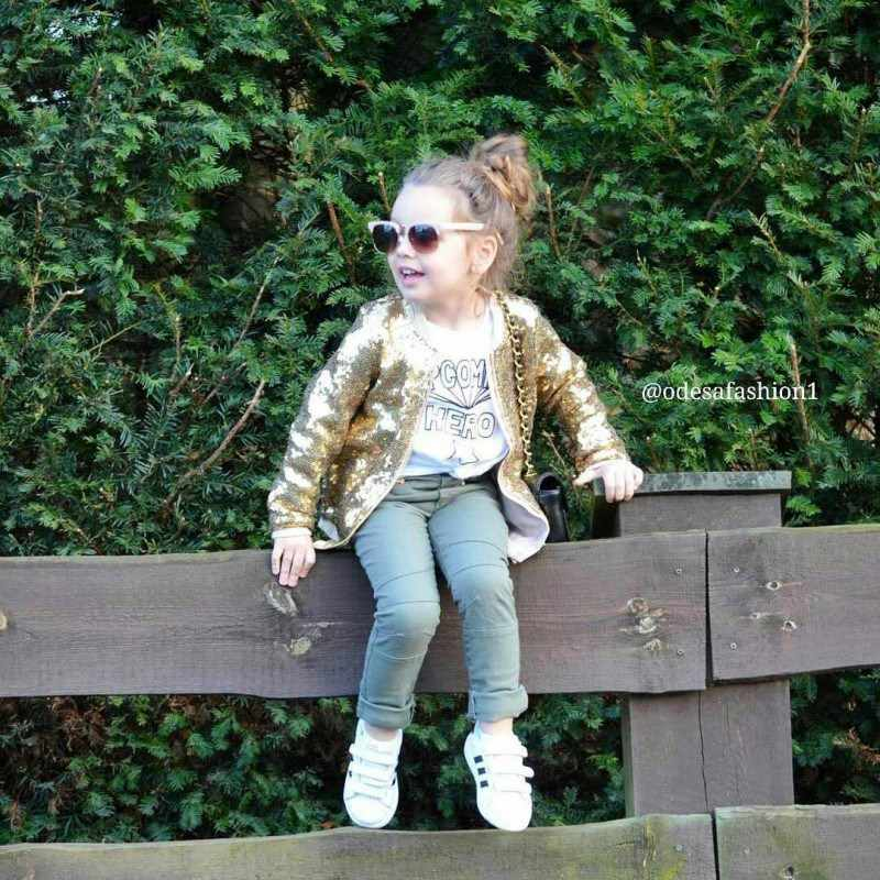 Весенне-осеннее индивидуальное универсальное пальто для маленьких девочек; Повседневная однотонная куртка на молнии с блестками и длинными рукавами; Новинка 2019 года; модная куртка