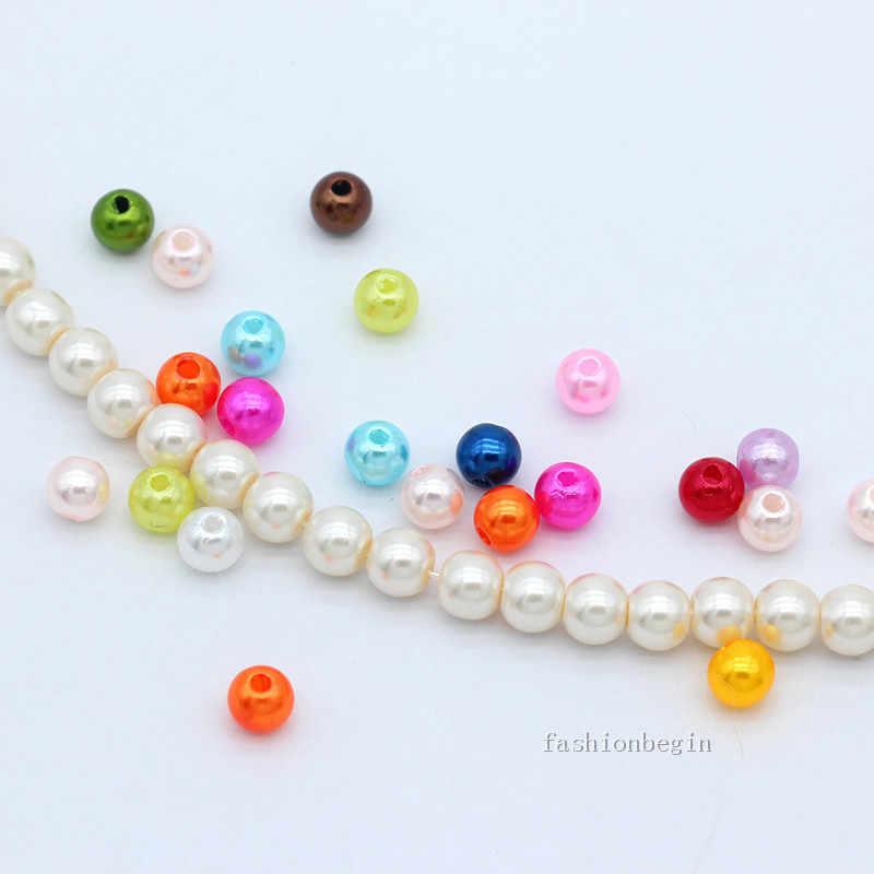 Nuovo 4 millimetri 6 millimetri 8 millimetri Sfera in Acrilico Rotondo Imitazione perla branelli allentati del distanziatore monili che fanno del braccialetto della collana FAI DA TE artigianato multi-colori