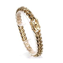 Fashion 12mm Stainless Steel Curb Cuban Link Bracelet Gold Color Hip Hop Mens Miami Bangle 7-10 Inch