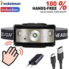8000 люмен супер мощный налобный фонарь USB Перезаряжаемый фары водонепроницаемый головной свет датчик движения для кемпинга бытовых