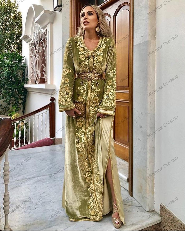 Unique Velour Arabic Evening Dresses Embroidery Plus Size Slit Moroccan Kaftan Prom Gowns Muslim Arabic Special Occasion Dress
