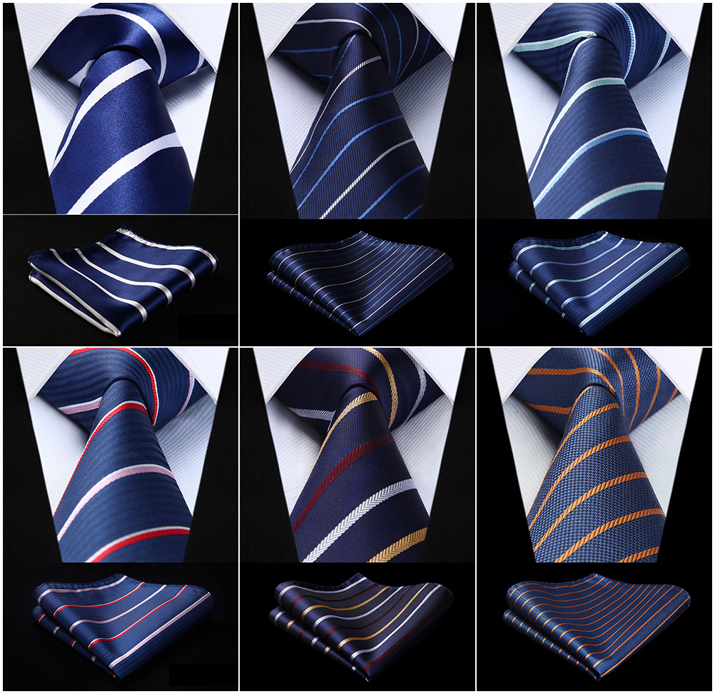 Party Wedding Men's Woven Silk Ties Pocket Square Set Striped Navy Blue Jacquard Necktie Handkerchief Set