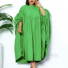 Femmes Robes Lâches O Cou Plissé Décontracté Mode Grande Taille Dames Femme Africaine Mode Printemps Été Nouveau 2021 Baggy Robes