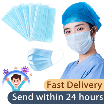 Fast Delivery 3-layer Mask 50pcs Face Masks Non Woven Disposable Anti-Dust Meltblown Cloth Masks Earloops Masks Mouth MASKS