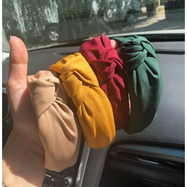Wide Top Knot Hair Bands For Women Headdress Solid Color Cloth Headband Bezel Girls Hairband Hair Hoop Female Hair Accessories 5