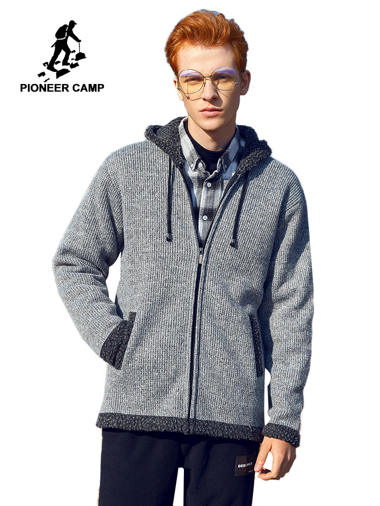 Pioneer Camp Winter Thick Hooded Sweater Zipper Solid Warm Fleece Outwear Causal Cardigan Men's Coats AMS908365