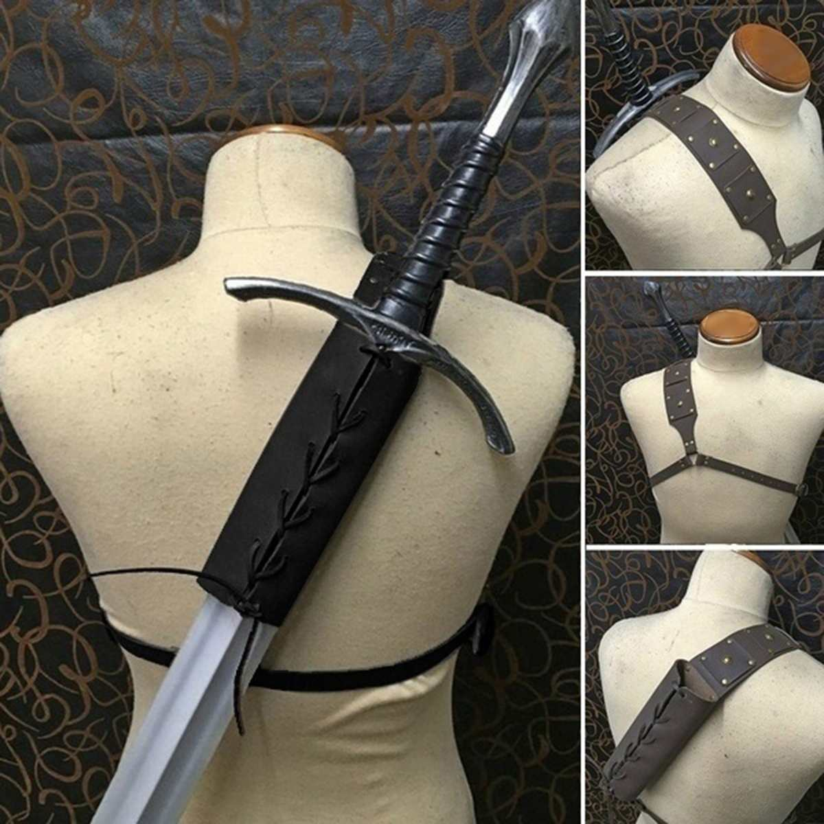 Adult Vintage Cosplay Costume Retro Coffee PU Leather Strap Scabbard Shoulder-back Sword Holder