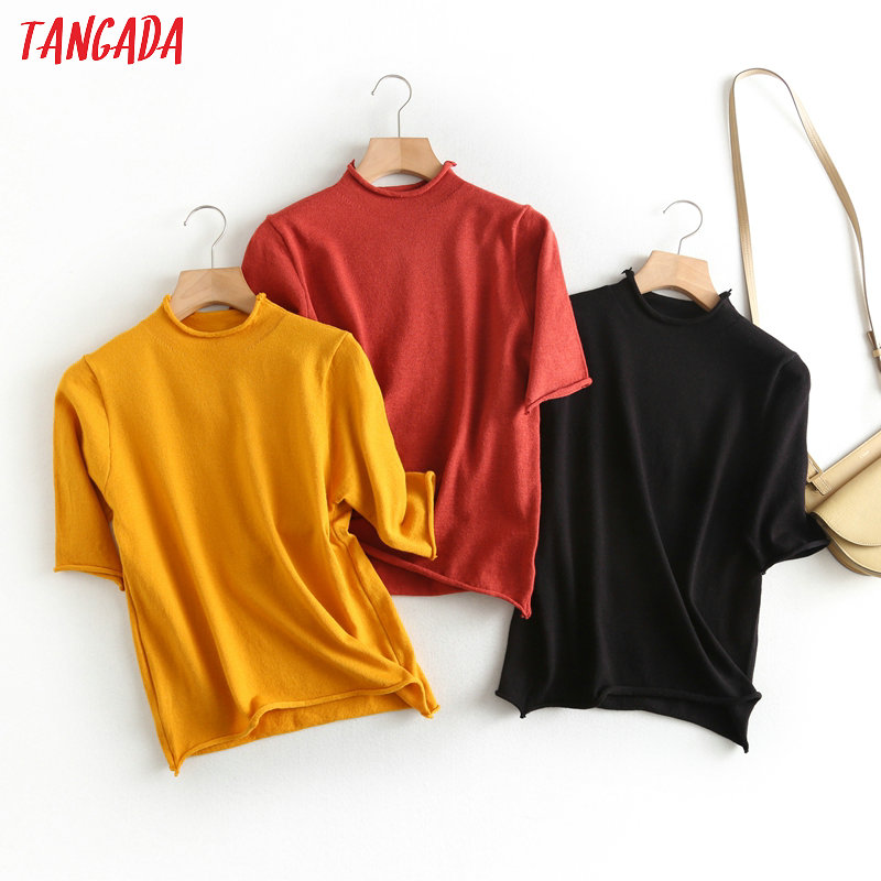 Tangada 2020 Fashion Women Spring Solid Thin Sweater Half Sleeve Vintage Ladies Short Style Elegant Knitted Jumper Tops BC54