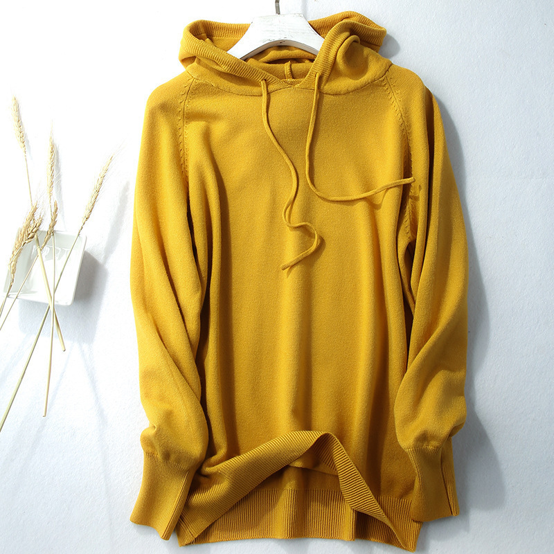 2019 Autumn Hooded Pullovers Woman Hoodies Sweater Casual Long Sleeve Jumpers Solid Color Plus Size