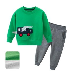 Image 4 - 봄 가을 어린이 소년 소녀 의류 면화 긴 소매 편지 세트 아동 의류 Tracksuit 아기 티셔츠 바지 2 Pcs/Suit
