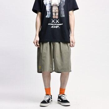 Smiley Cargo Shorts Men Summer Streetwear Casual Elasticated-waist Straight Canvas Short-pants 2