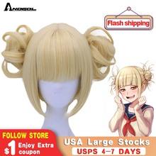 Anogol Double Ponytail Anime My Hero Academy Himiko Toga Cross My Body Short Straight Blonde Synthetic Cosplay Wig For Halloween