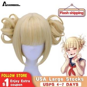 Image 1 - Anogol двойной хвост аниме My Hero Academy химико Тога крест мое тело короткий прямой блонд Синтетический Косплей парик для Хэллоуина